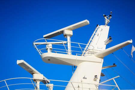 Radar of a ship, radar ship for safe passage on the sea 스톡 콘텐츠