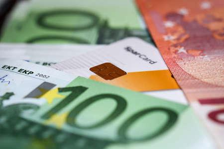 Many banknotes on a stack, euro notes bundled Reklamní fotografie