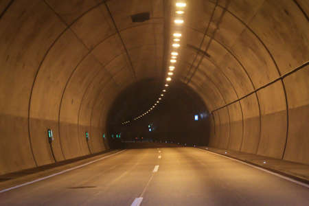 View into a freeway tunnel, tunnel tube Stockfoto