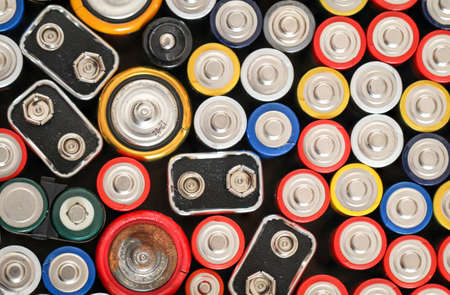 Ots of different batteries in a heap