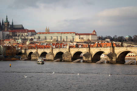 View of part of Prague with the Charles Bridge.