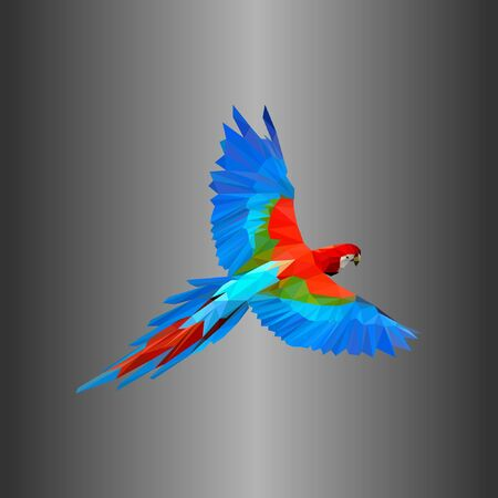 bird design in blue, red, green with polygonal techniques. Unique colorful and attractive design. a for a company, organization and business.