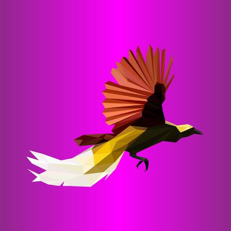 Bird of paradise design with polygonal technique. Unique, simple and attractive design. for a company, organization and business. Stock Illustratie