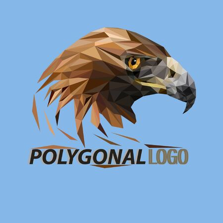 eagle head logo design with polygonal technique. Unique logo design is simple and attractive. logo for a company, organization and business.