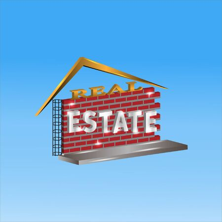 real estate with a 3D design concept. design with a brick, iron and writing background.