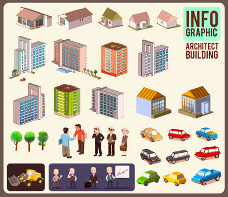 isometric city info graphic,city background with isolated buildings Illustration