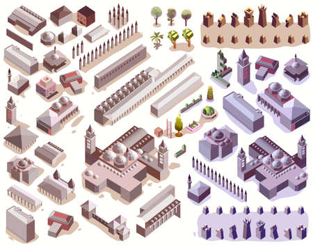 isometric of empire info graphic and map elements map vector Illustration