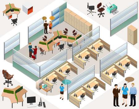 사무실 건물: 완성 된 워크 스테이션, 회의실, 리셉션, 로비, 비즈니스 사람을 포함, 활동 사무실 아이소 메트릭 일러스트