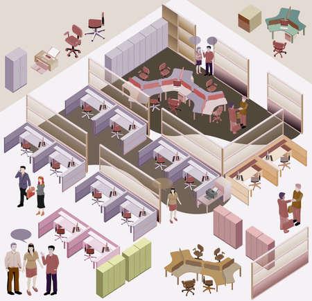 espaço: isométrica escritório com estação de trabalho completa, sala de reuniões, recepções, hall de entrada, incluir as pessoas de negócios, atividade