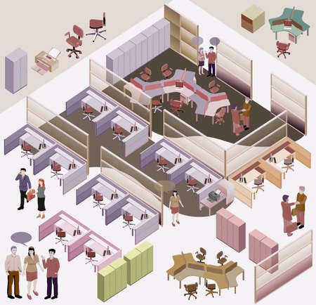 oficina: isométrico oficina con estación de trabajo completa, sala de reuniones, recepciones, lobby, incluir a personas de negocios, la actividad Vectores