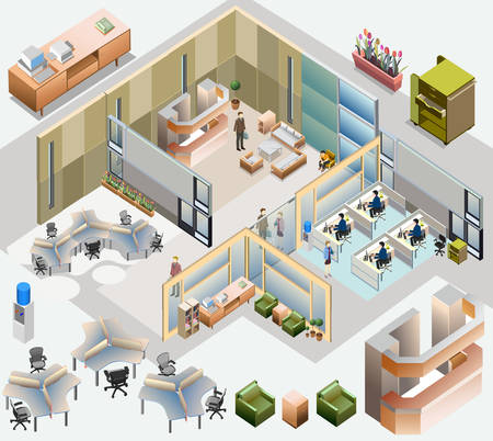 isometrico: isométrico oficina con estación de trabajo completa, sala de reuniones, recepciones, lobby, incluir a personas de negocios, la actividad Vectores