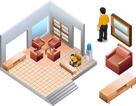 isometric of custom house interior Vector
