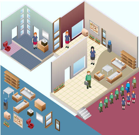 sometric of interior room  custom interior isometric series Ilustração