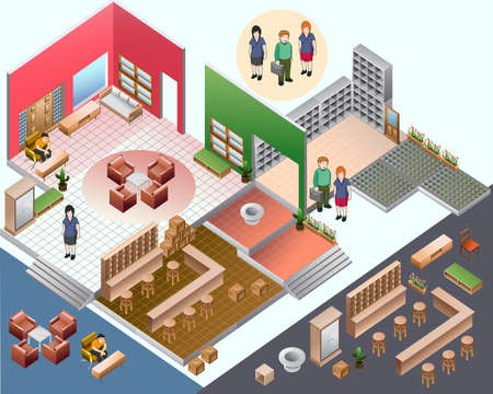 sometric of interior room  custom interior isometric series Vector