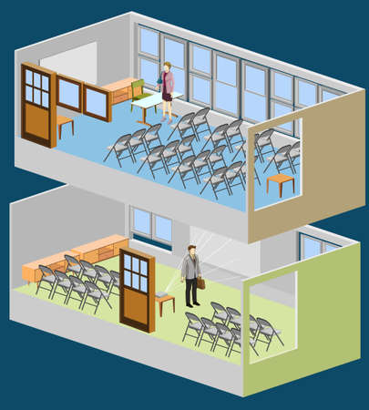 lecture room: ismometric of class room Illustration