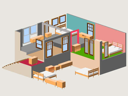 isometric of modern house interior Çizim