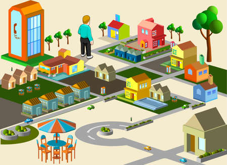 several building isometric  very detail isometric vector