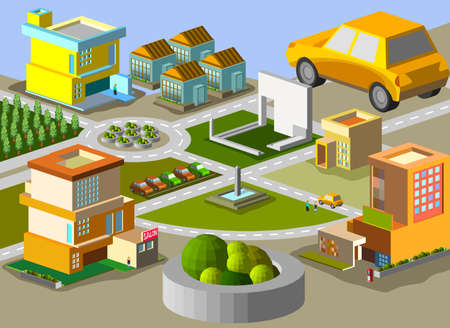 building trade: several building isometric  very detail isometric vector