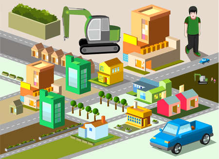 several building isometric  very detail isometric vector Stock Vector - 29246285