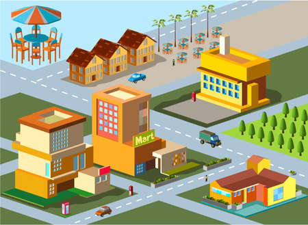 several building isometric  very detail isometric vector Vector