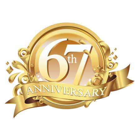gleam: anniversary golden decorative background ring and ribbon 67