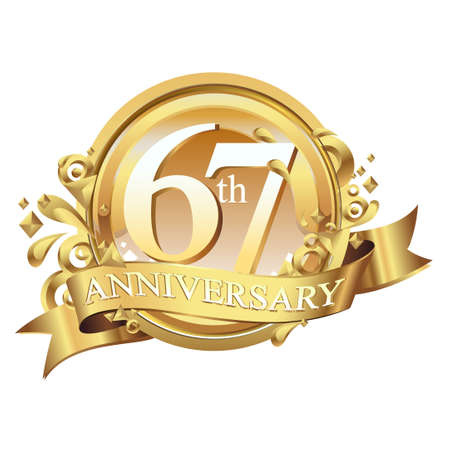 anniversary golden decorative background ring and ribbon 67