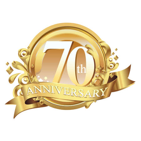 anniversary golden decorative background ring and ribbon 70