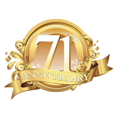 anniversary golden decorative background ring and ribbon 71 Ilustração