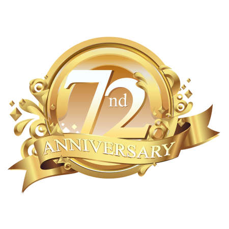 anniversary golden decorative background ring and ribbon 72
