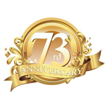 anniversary golden decorative background ring and ribbon 73 Ilustração