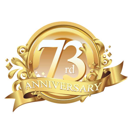 anniversary golden decorative background ring and ribbon 73 Stock Illustratie