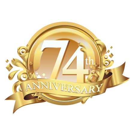 anniversary golden decorative background ring and ribbon 74