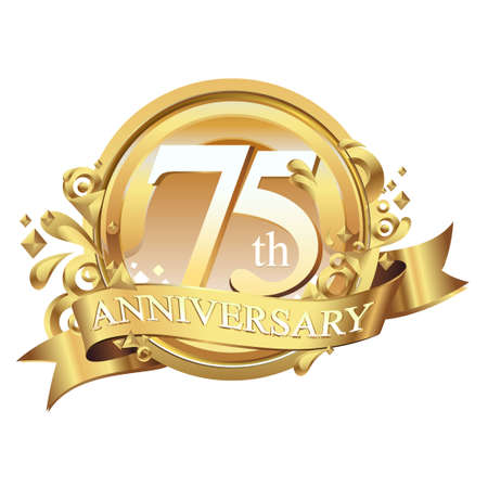 anniversary golden decorative background ring and ribbon 75
