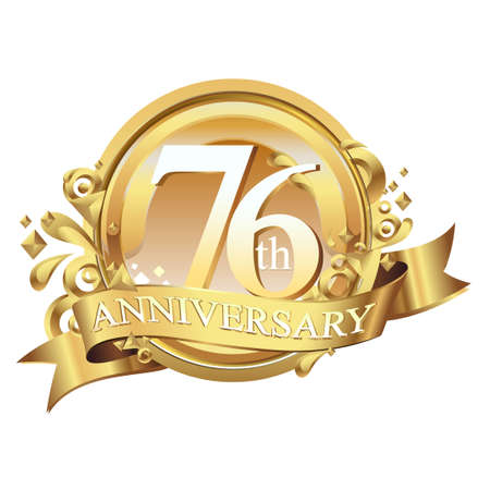 anniversary golden decorative background ring and ribbon 76 Stock Illustratie