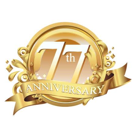 gleam: anniversary golden decorative background ring and ribbon 77