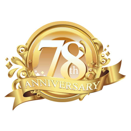 anniversary golden decorative background ring and ribbon 78