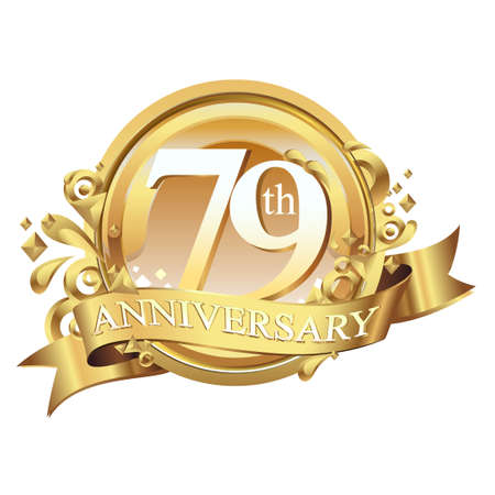 anniversary golden decorative background ring and ribbon 79