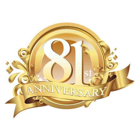 anniversary golden decorative background ring and ribbon 81 Stock Illustratie
