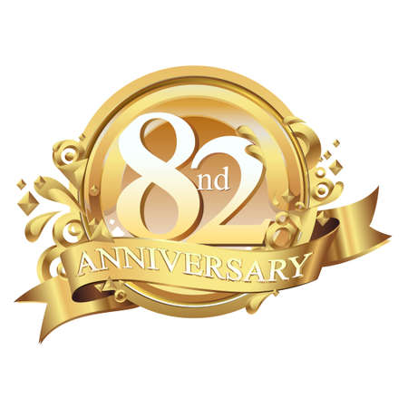 anniversary golden decorative background ring and ribbon 82
