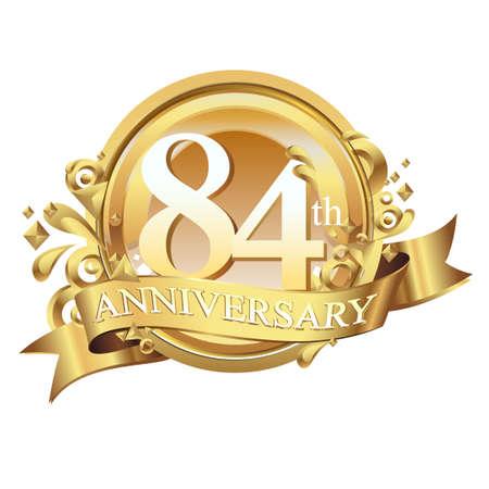 anniversary golden decorative background ring and ribbon 84 Ilustração