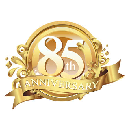 anniversary golden decorative background ring and ribbon 85
