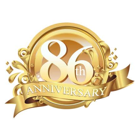 anniversary golden decorative background ring and ribbon 86 Ilustração