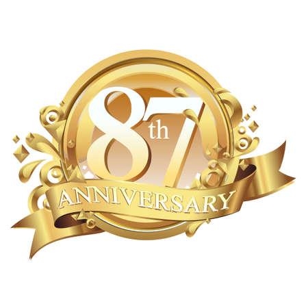 anniversary golden decorative background ring and ribbon 87 Stock Illustratie