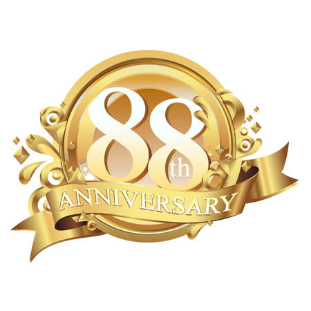 anniversary golden decorative background ring and ribbon 88