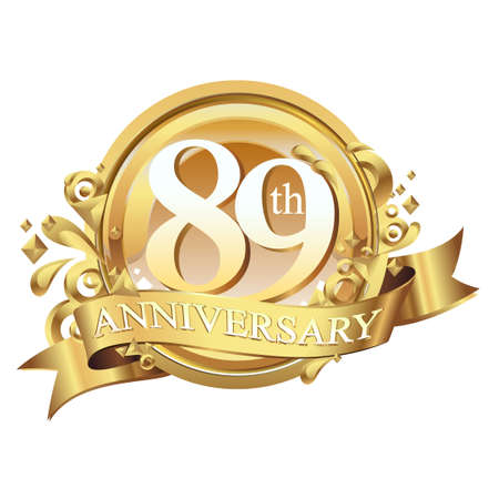 anniversary golden decorative background ring and ribbon 89 Stock Illustratie
