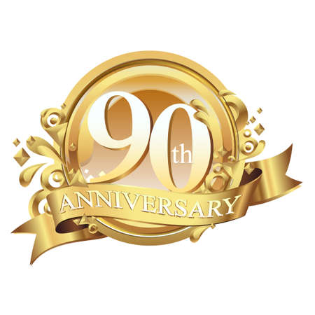 anniversary golden decorative background ring and ribbon 90