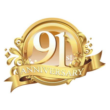 anniversary golden decorative background ring and ribbon 91