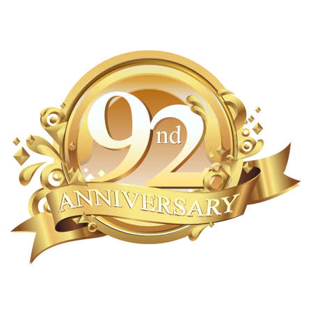 anniversary golden decorative background ring and ribbon 92