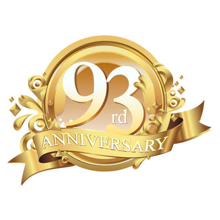 anniversary golden decorative background ring and ribbon 93 Ilustração