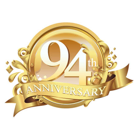 anniversary golden decorative background ring and ribbon 94